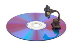 Computer disk and gramophone Royalty Free Stock Photo