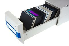 Computer diskettes in a storage box Stock Photography
