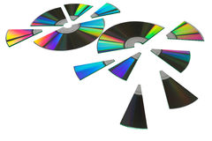 Computer disks cut up for sharing Royalty Free Stock Photo