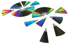 Computer disks cut up for sharing. Shareware disks cut up for sharing royalty free stock photo