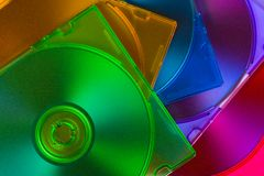 Computer disks in multiciolored boxes Stock Photo