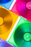 Computer disks in multiciolored boxes Royalty Free Stock Images