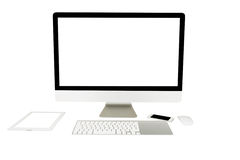 Computer display with blank screen and wireless keyboard Royalty Free Stock Image