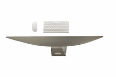 Computer display with blank screen and wireless keyboard Royalty Free Stock Photography