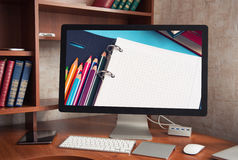 Computer display with blank white screen Royalty Free Stock Photo