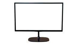 Computer display with blank white screen Royalty Free Stock Photography