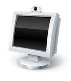 Computer display with empty black screen Stock Photo