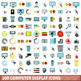 100 computer display icons set, flat style. 100 computer display icons set in flat style for any design vector illustration Royalty Free Stock Photos