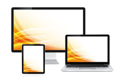 Computer display, laptop and tablet Royalty Free Stock Photos