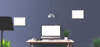 Computer display and office tools on desk. Desktop computer screen isolated. Modern creative workspace background. Front view Royalty Free Stock Image