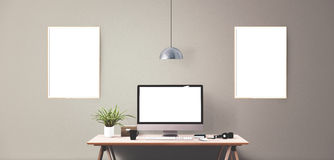 Computer display and office tools on desk. Desktop computer screen isolated. Modern creative workspace background. Front view Royalty Free Stock Photography