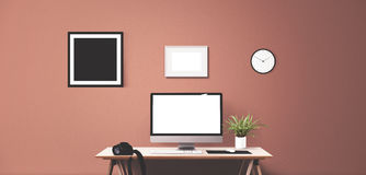 Computer display and office tools on desk. Desktop computer screen isolated. Modern creative workspace background. Front view Stock Photos