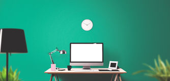 Computer display and office tools on desk. Desktop computer screen isolated. Modern creative workspace background. Front view Stock Photo