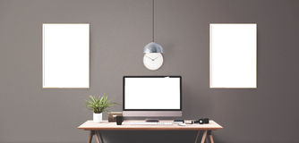 Computer display and office tools on desk. Desktop computer screen isolated. Modern creative workspace background. Front view Stock Images