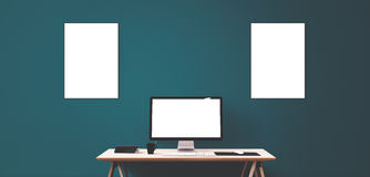 Computer display and office tools on desk. Desktop computer screen . Modern creative workspace background. Front view Royalty Free Stock Image