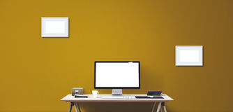Computer display and office tools on desk. Desktop computer screen . Modern creative workspace background. Front view Royalty Free Stock Images