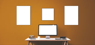 Computer display and office tools on desk. Desktop computer screen . Modern creative workspace background. Front view Royalty Free Stock Photography