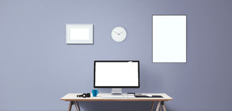 Computer display and office tools on desk. Desktop computer screen . Modern creative workspace background. Front view Stock Image