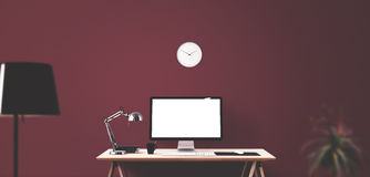 Computer display and office tools on desk. Desktop computer screen . Modern creative workspace background. Front view Royalty Free Stock Photo