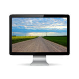 Computer display with road on screen Stock Photography