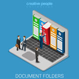 Computer document archive folders screen flat isometric vector Stock Photography
