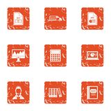 Computer documentation icons set, grunge style. Computer documentation icons set. Grunge set of 9 computer documentation vector icons for web isolated on white Royalty Free Stock Images