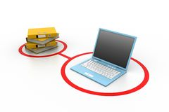 Computer and documents. 3d illustration of computer and documents Royalty Free Stock Photo