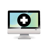 Computer with download icon  on white Royalty Free Stock Image