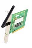 Computer draadloze PCI kaart met antenne stock afbeelding