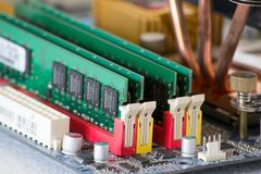 computer-dram-memory-in-slots Stock Images