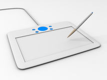 Computer drawing tablet with pen. White Computer drawing tablet with pen Royalty Free Stock Photography
