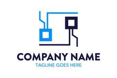 Computer e modello unici ed originali di logo della rete Immagini Stock