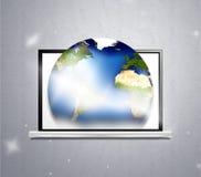 Computer e pianeta Terra Fotografie Stock Libere da Diritti