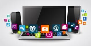 Computer e telefoni cellulari della compressa con l'icona dell'applicazione variopinta illustrazione di stock