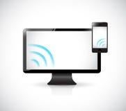 Computer e telefono con il segnale WiFi. illustrazione Fotografie Stock Libere da Diritti