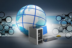 Computer and earth globe. In color background Stock Photos