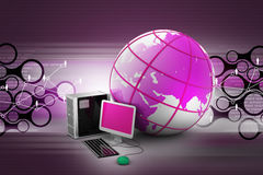 Computer and earth globe. In color background Stock Image