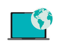Computer and earth globe icon Stock Image