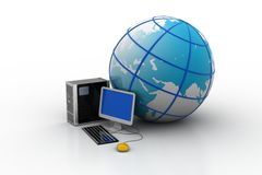 Computer and earth globe. In white background Royalty Free Stock Photo