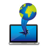 computer earth planet with hole icon Royalty Free Stock Photo