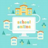 Computer, edificio scolastico e Camere Illustrazione d'apprendimento online Fotografia Stock