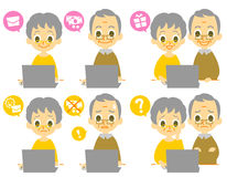 Computer elderly couple computer viruses Stock Image