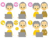 Computer elderly couple computer viruses. Computer, elderly couple computer viruses,  file set Stock Image