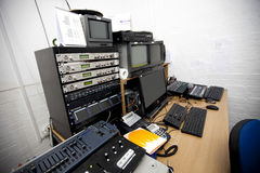 Computer and electric equipment in television studio Royalty Free Stock Images