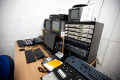 Computer and electric equipment in television studio Royalty Free Stock Image