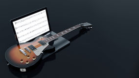 Computer with electric guitar. Design made in 3D Royalty Free Stock Image