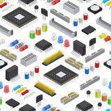 Computer Electronic Circuit Board Component Background Pattern on a White Isometric View. Vector Royalty Free Stock Images