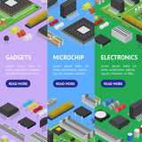 Computer Electronic Circuit Board Component Banner Vecrtical Set Isometric View. Vector Stock Images