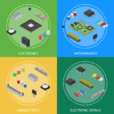 Computer Electronic Circuit Board Component Poster Card Set Isometric View. Vector Royalty Free Stock Images
