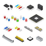 Computer Electronic Circuit Board Component Set Isometric View. Vector Royalty Free Stock Image